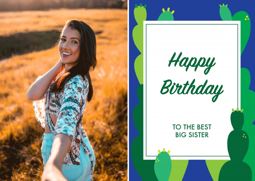 Birthday card with cactus template