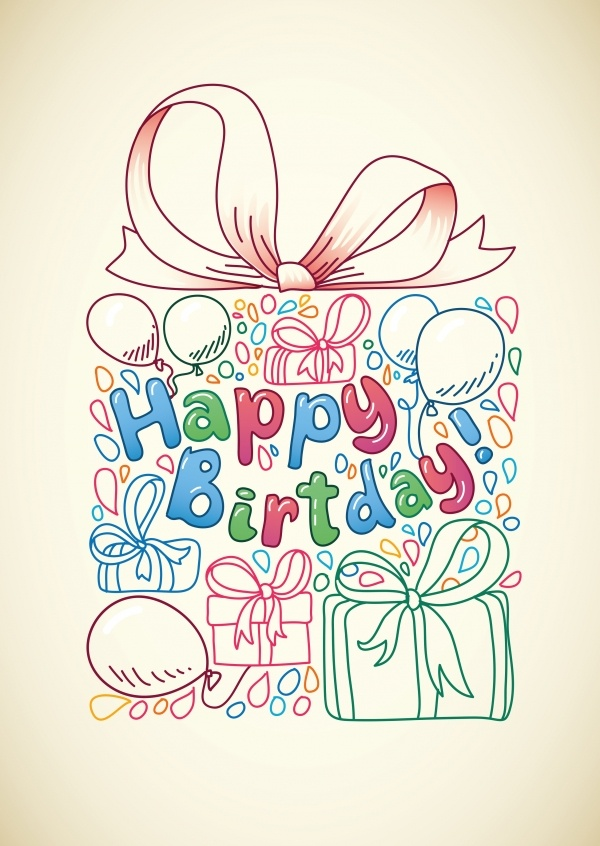 happy birthday wishes with colourful outline illustrations of presents and balloons