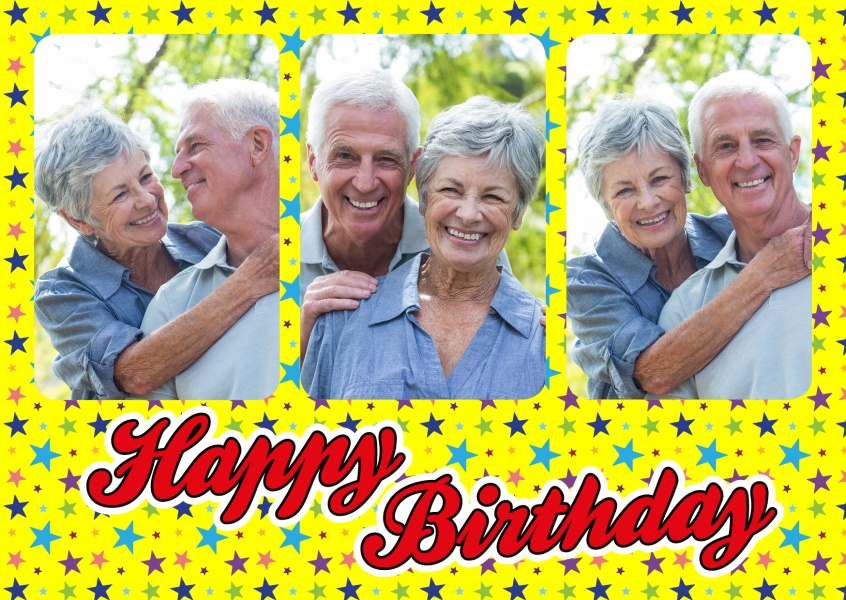 Personalize card with space for three photos, a colorful stars pattern und lettering happy birthday