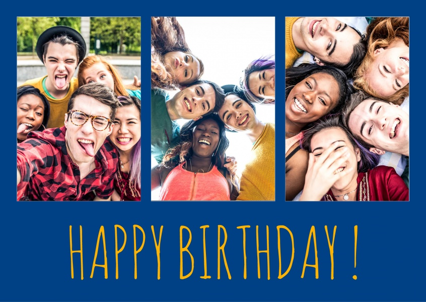 Happy Birthday lettering on blue background