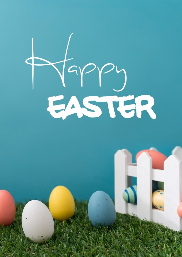 Card with garden and easter egg