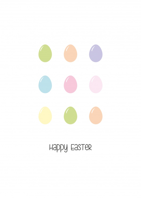 happy easter with minimal colorful eastereggs on white background