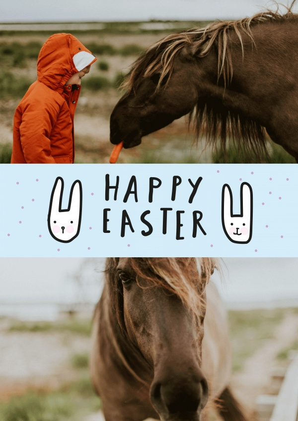 happy easter with doodled bunnies and blue background