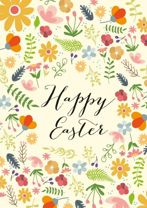 happy easter with flower pattern and yellow background