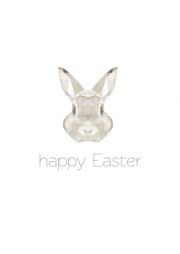 happy easter modern bunny triangle-style