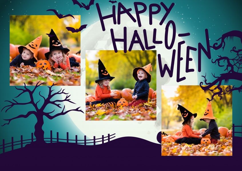 happy halloween card with landscape