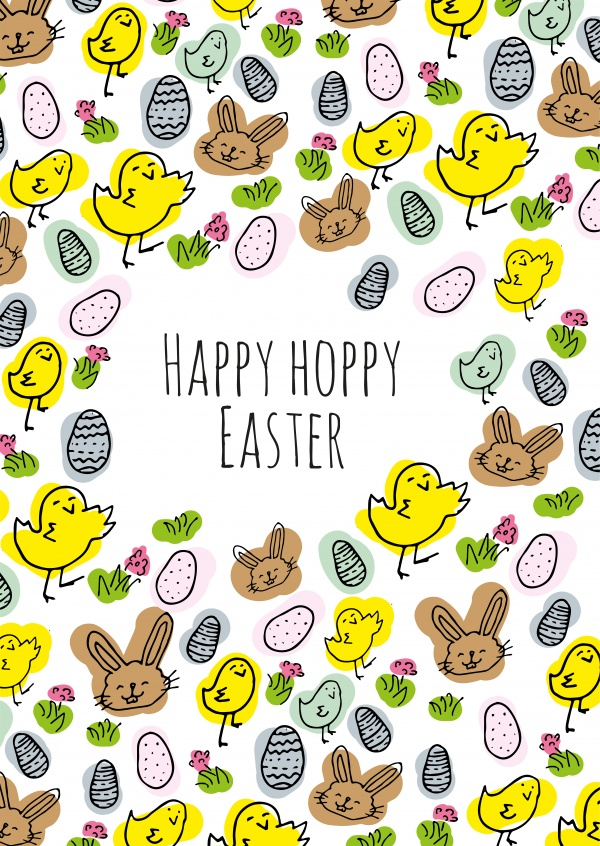 happy hoppy easter colorful doodled pattern