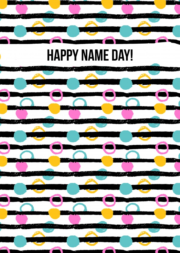 white card with colorful nineties pattern