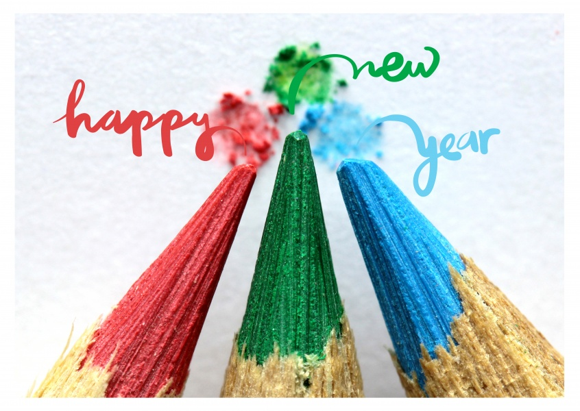 Happy New Year with color pencils
