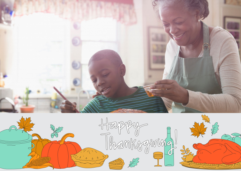 Happy thanksgiving! Card with traditional Thanksgiving dishes.