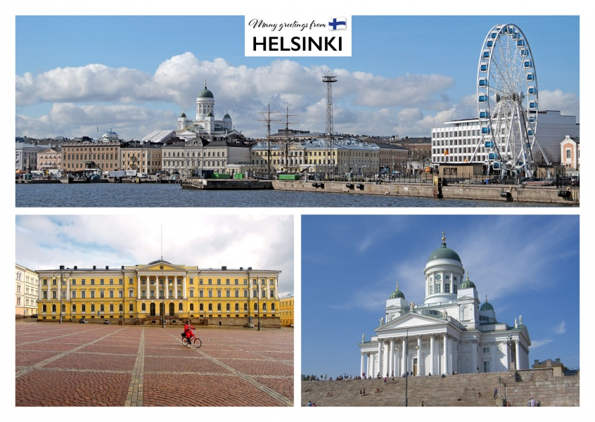 Helsinki photocollage showing harbour skyline, cathedral and big wheel