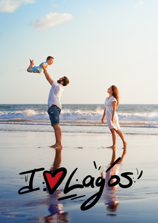 black I love Lagos - lettering with red heart