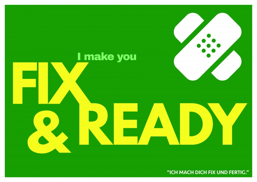 Lustiger Denglisch Spruch I make you fix and ready