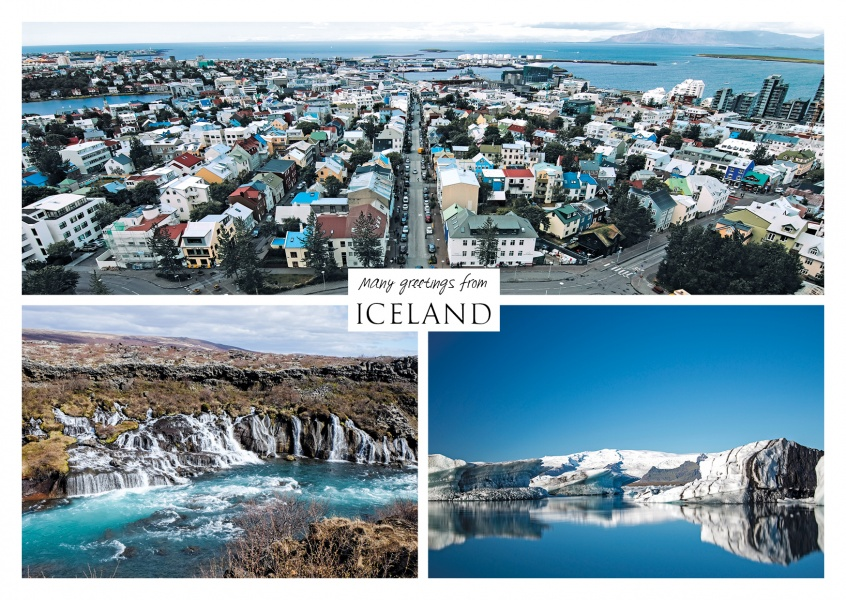 Three photos of iceland – waterfall, ice and city