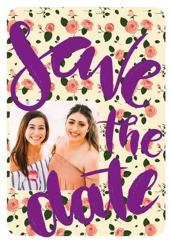 Personalize card with space for one photo, flower pattern and big purpler lettering: save the date