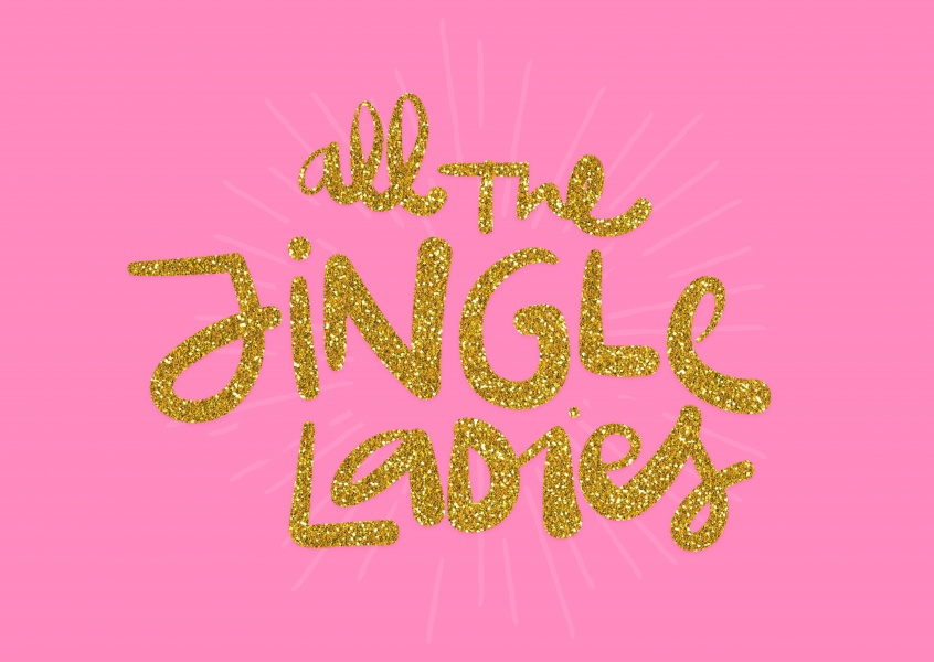 Jingle Ladies pink card glitter letters