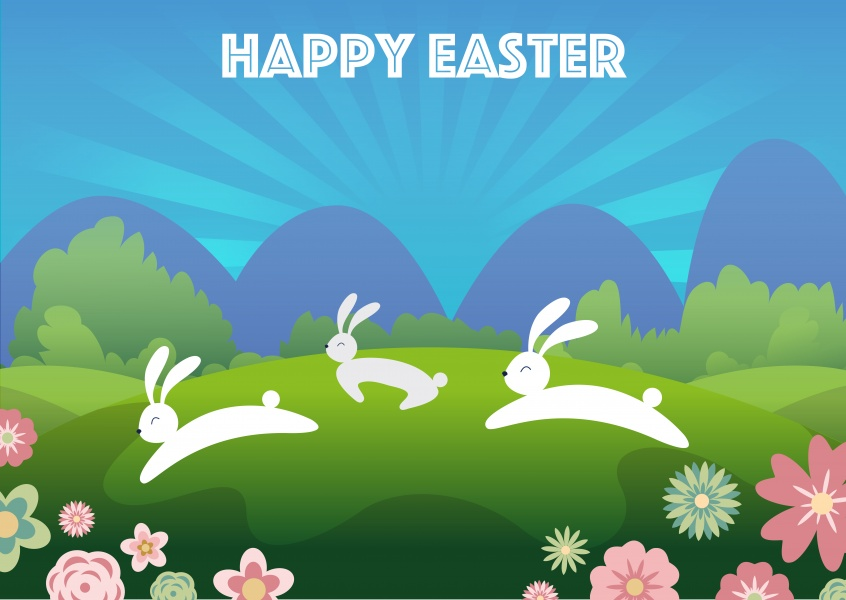 easter bunnies jumping around with spring landscape background