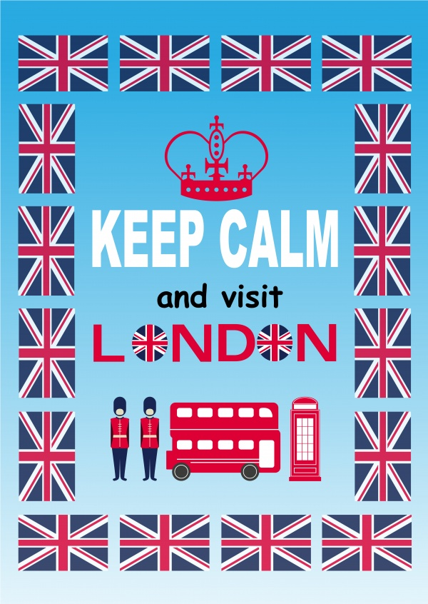 greetingcard with keep calm and visit London sign and graphics around