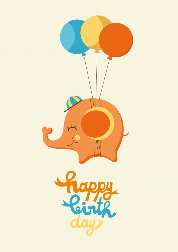 Cute little elephant flying high with balloons