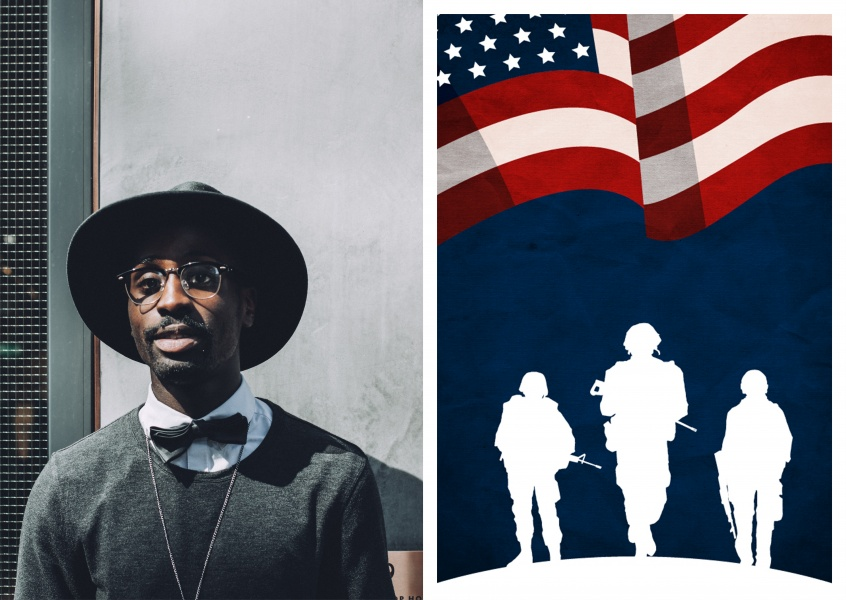 Soldiers on blue backgroud with american flag