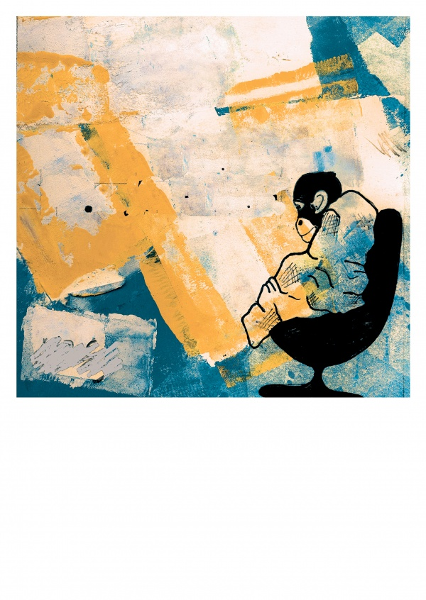 illustration by Belrost, lonely monkey on yellow and blue background
