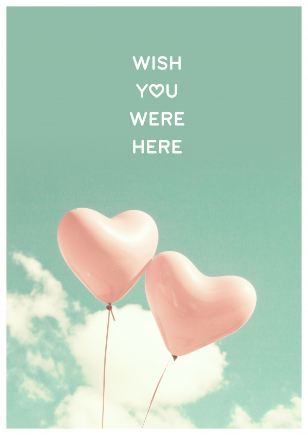 2 balloons in the sky pink wish you were here