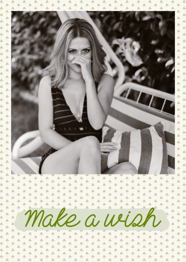 Make a wish card with small clovers