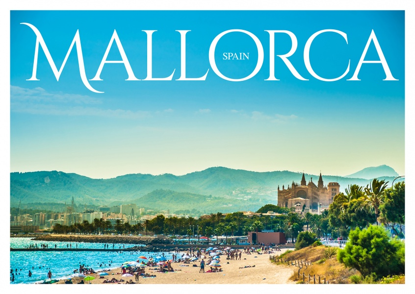 Photo of Mallorca with view of the bach and city in the background–mypostcard