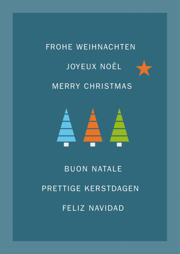 Xmas various languages with 3 little trees