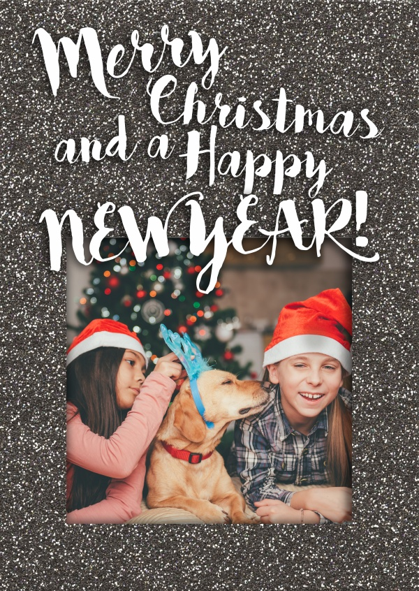 Merry Christmas and a Happy New Year with dark glitter frame