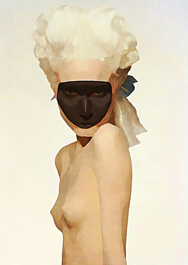 Kubistika topless woman with black mask and Roccoco haurstyle