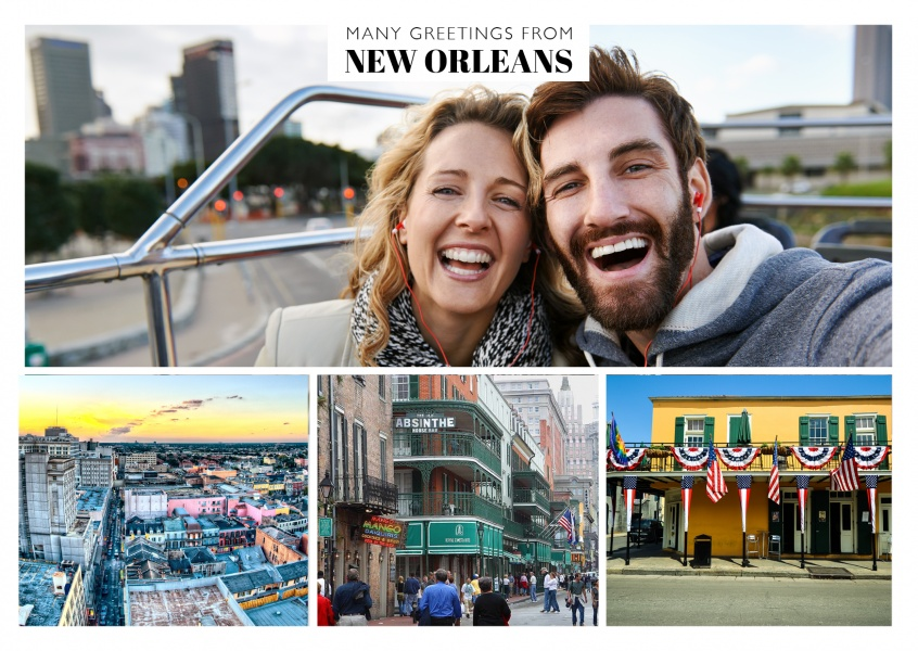 triple photo collage of new orleans