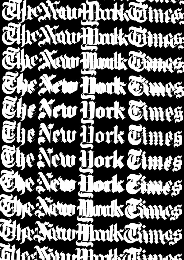 Kubistika New York Times in old english lettering