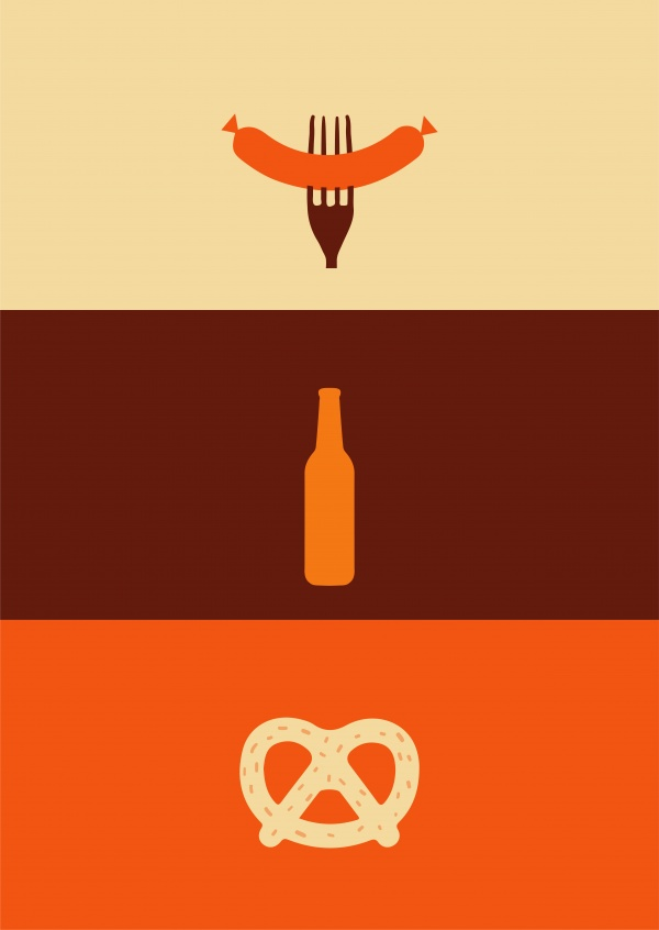 Holy Trinity: sausage, beer and pretzel