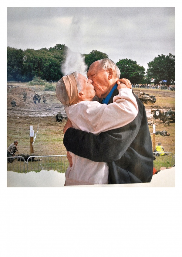 Belrost collage old couple kissing on battlefield