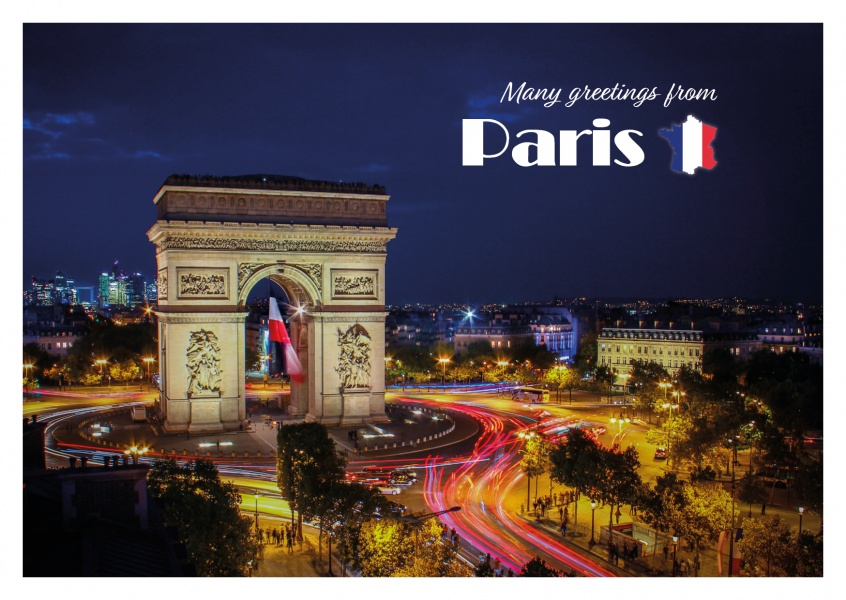 photo triumphal arch in Paris by night