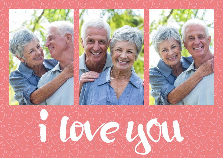 I love you triplet collage with salmon-coloured background pattern