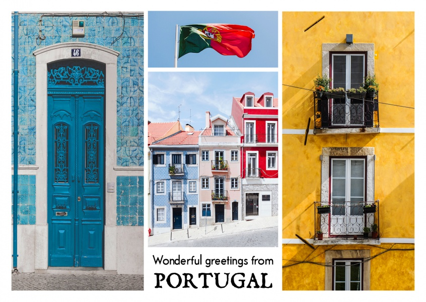 photocllage of old Portugese buildings, flag and tiles