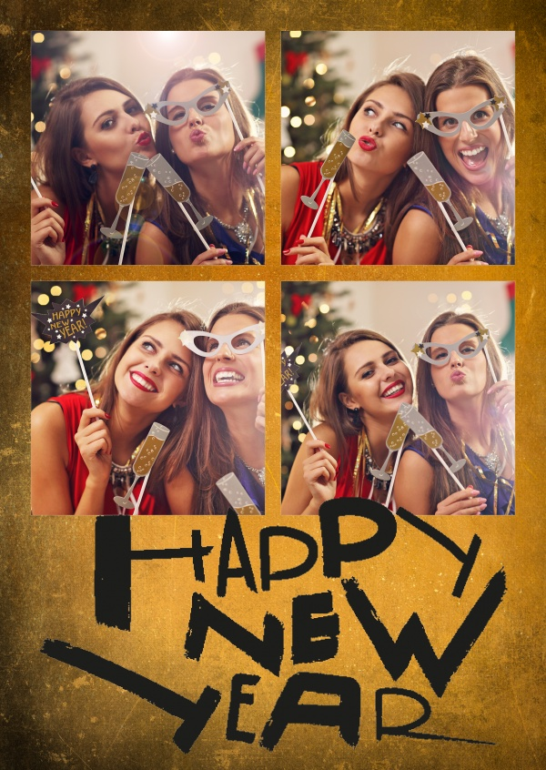 Costumizable New years greeting card in gold and black