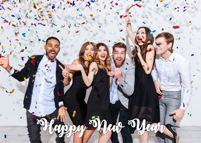 Costumizable New years greeting card with lettering