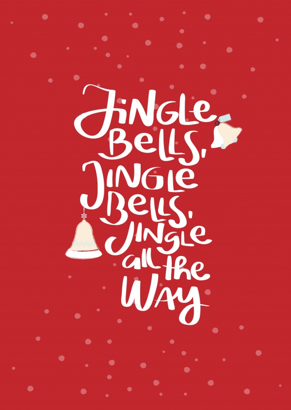 Jingle Bells red   Christmas Cards   Send real postcards online