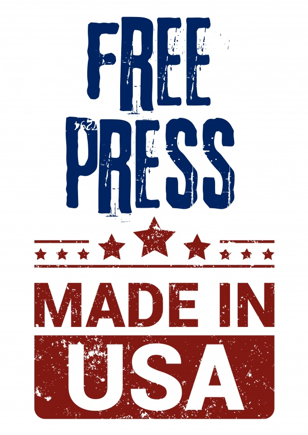 Simple greeting card with text saying free press made in USA