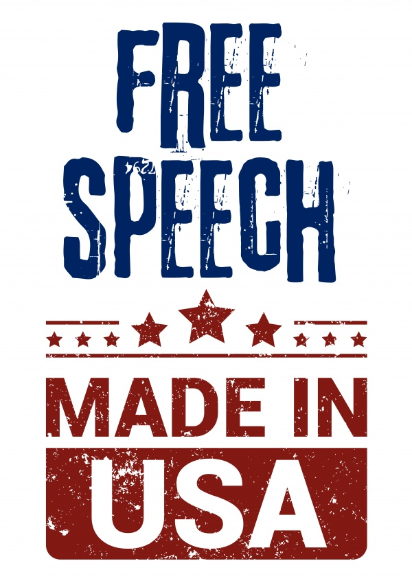 Simple greeting card with text saying free speech made in usa