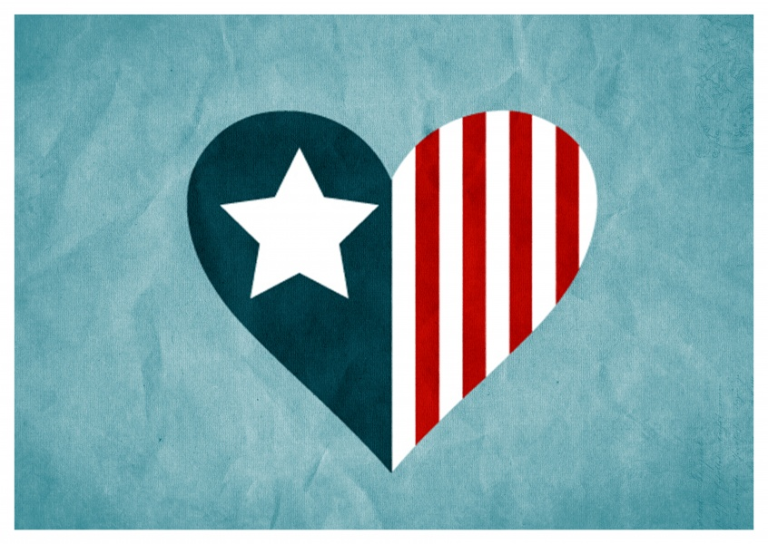Greeting card with blue ground and a heart colored by the American flag
