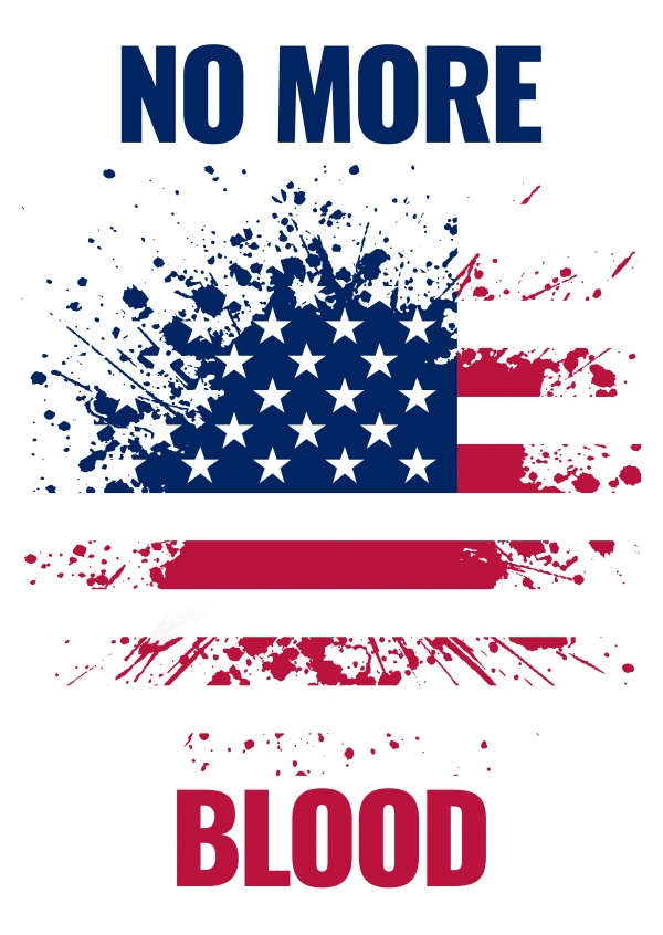 Greeting card with a splashing American flag saying no more blood