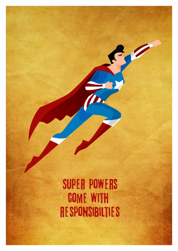 Greeting card with a superman saying super powers come with resposibilities