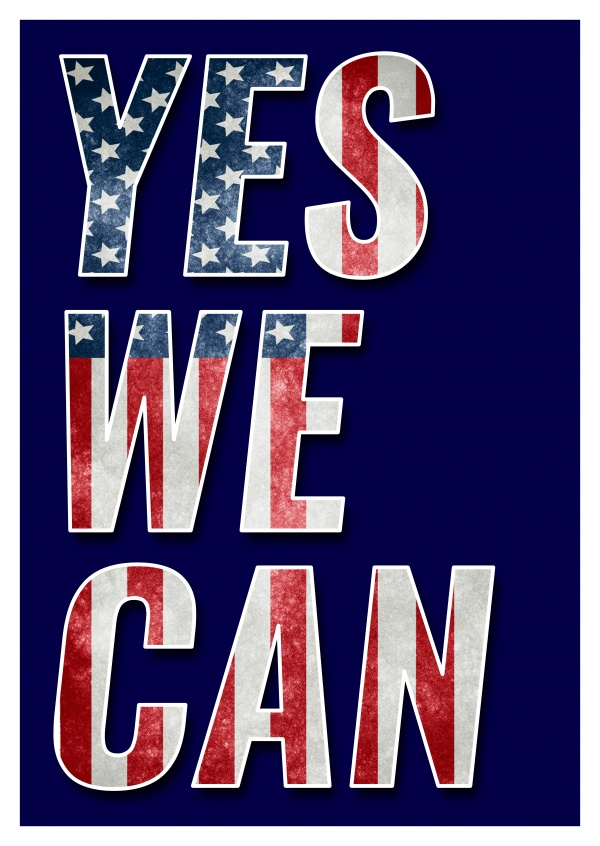 Greeting card saying YES WE CAN in the American flag