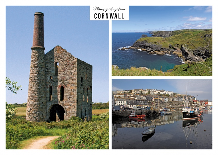 Greeting card with three photos of different coasts