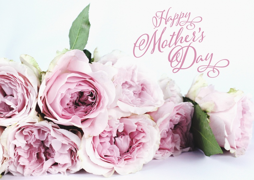 Happy mother's day with flowers and white background–mypostcard