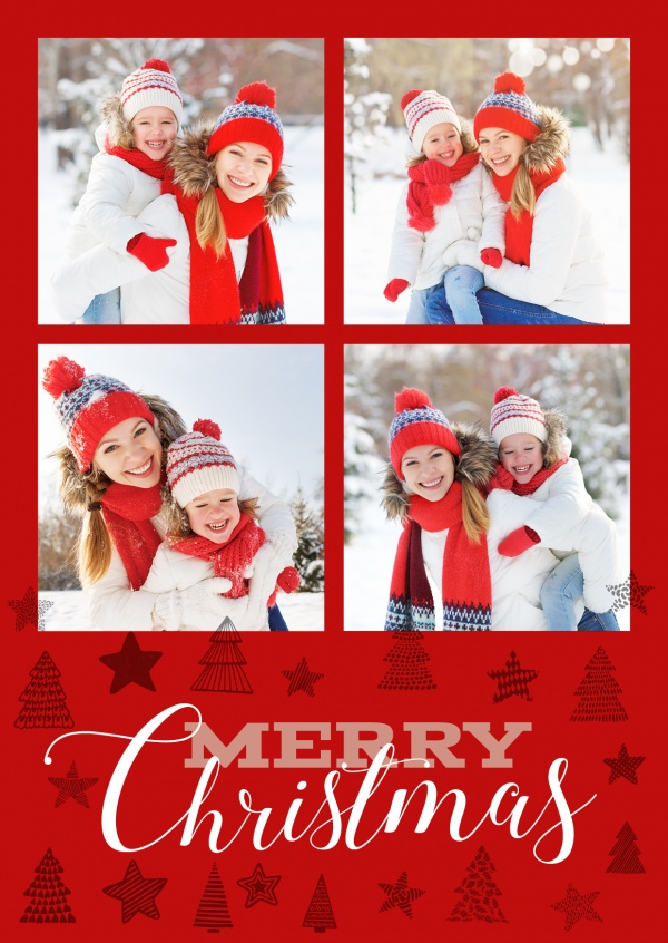 Personalizable christmas card with space for four photos and christmacy illustrations